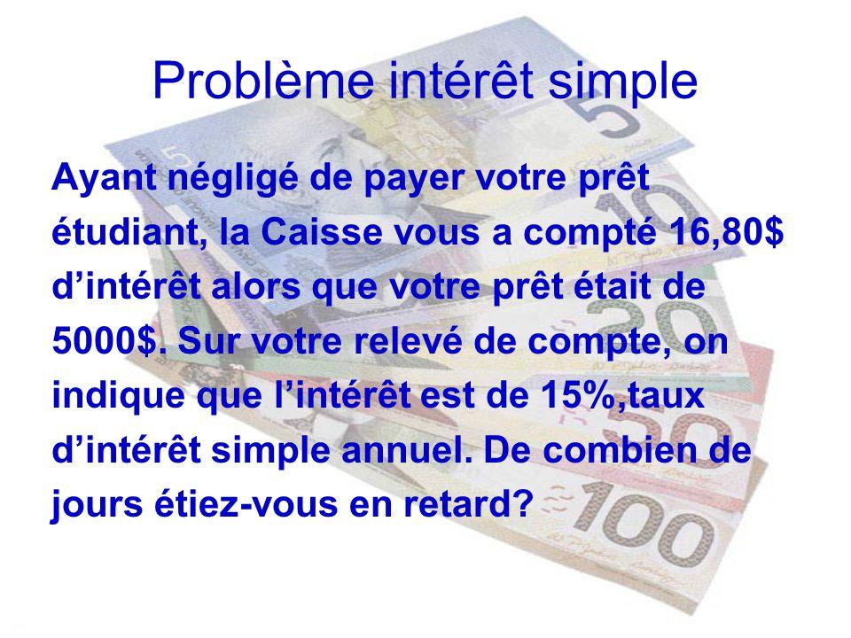 Problème intérêt simple
