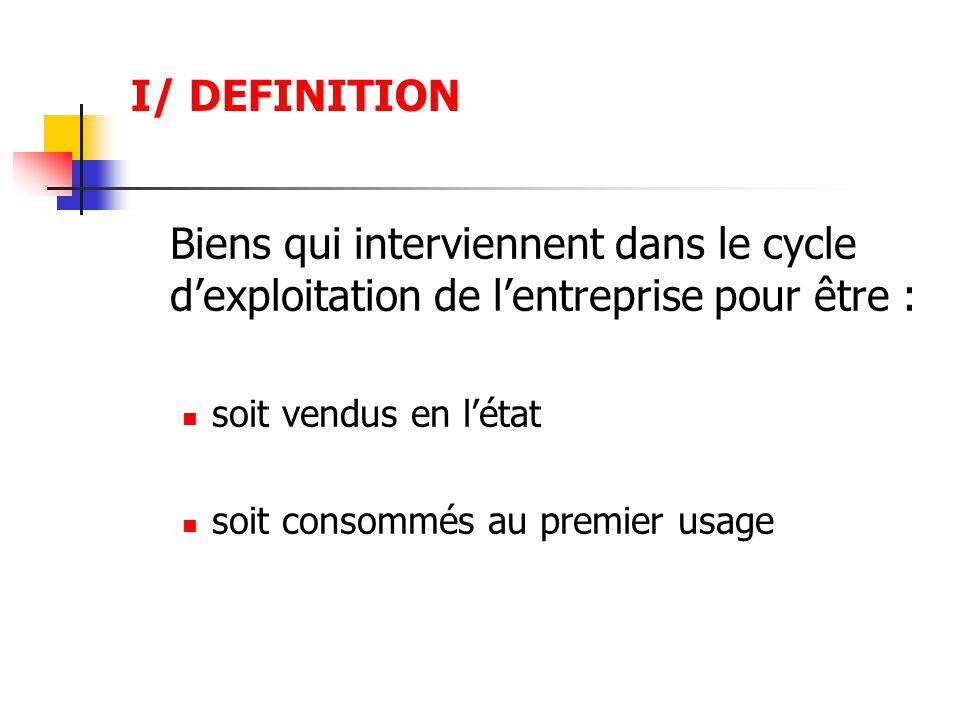 I/ DEFINITION Biens qui interviennent dans le cycle d'exploitation de l'entreprise pour être : soit vendus en l'état.