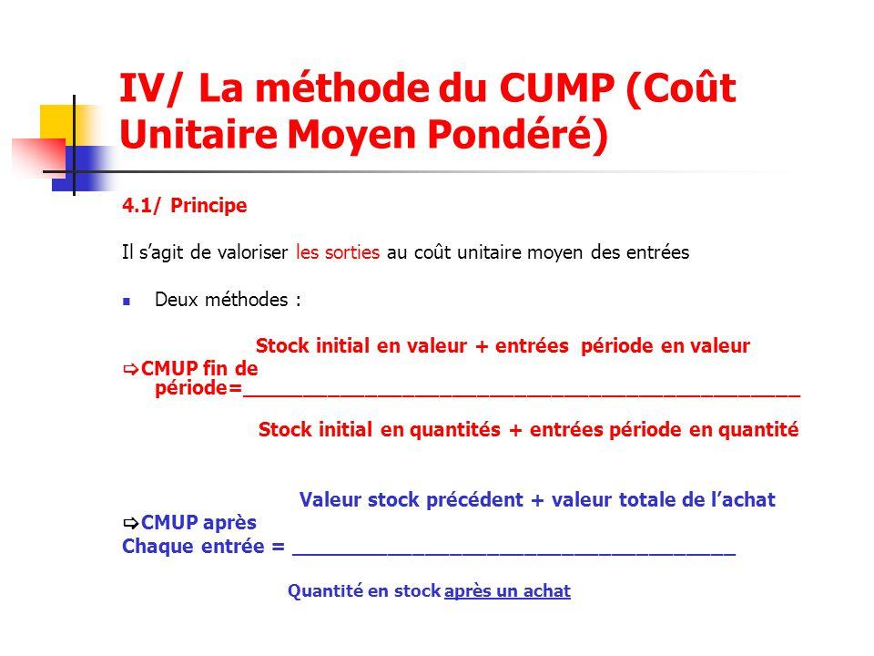 IV/ La méthode du CUMP (Coût Unitaire Moyen Pondéré)