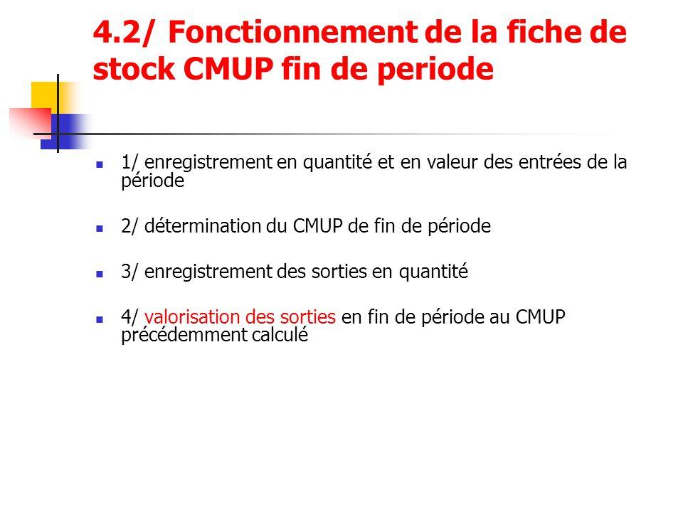 4.2/ Fonctionnement de la fiche de stock CMUP fin de periode