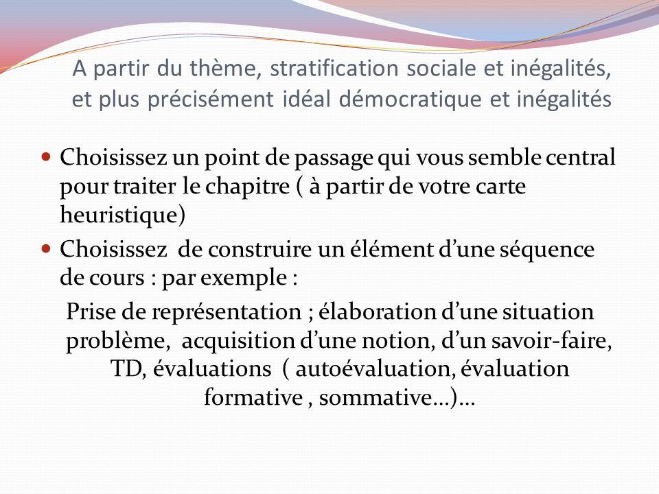 A partir du thème, stratification sociale et inégalités, et plus précisément idéal démocratique et inégalités