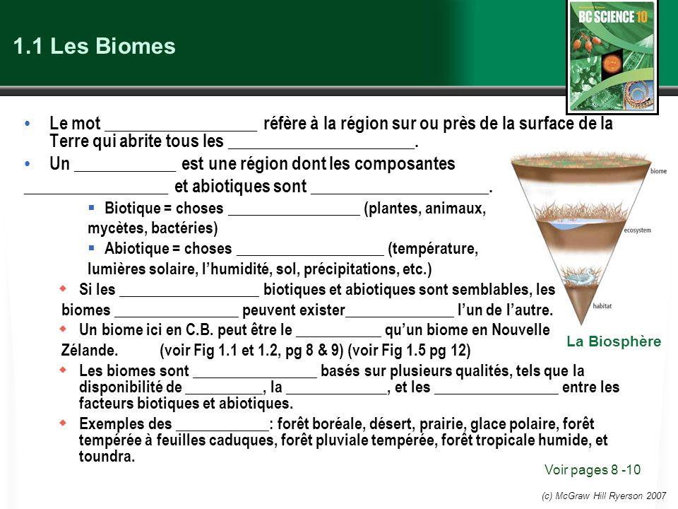 1.1 Les Biomes Le mot __________________ réfère à la région sur ou près de la surface de la Terre qui abrite tous les ______________________.