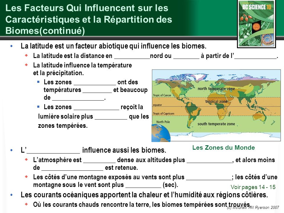 Les Facteurs Qui Influencent sur les Caractéristiques et la Répartition des Biomes(continué)