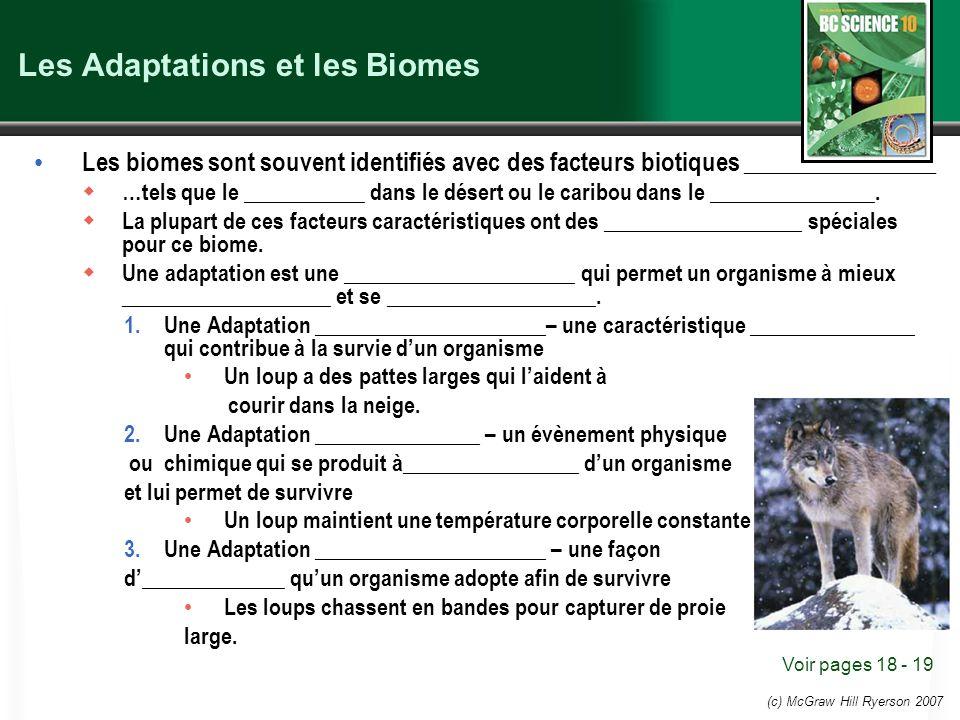 Les Adaptations et les Biomes