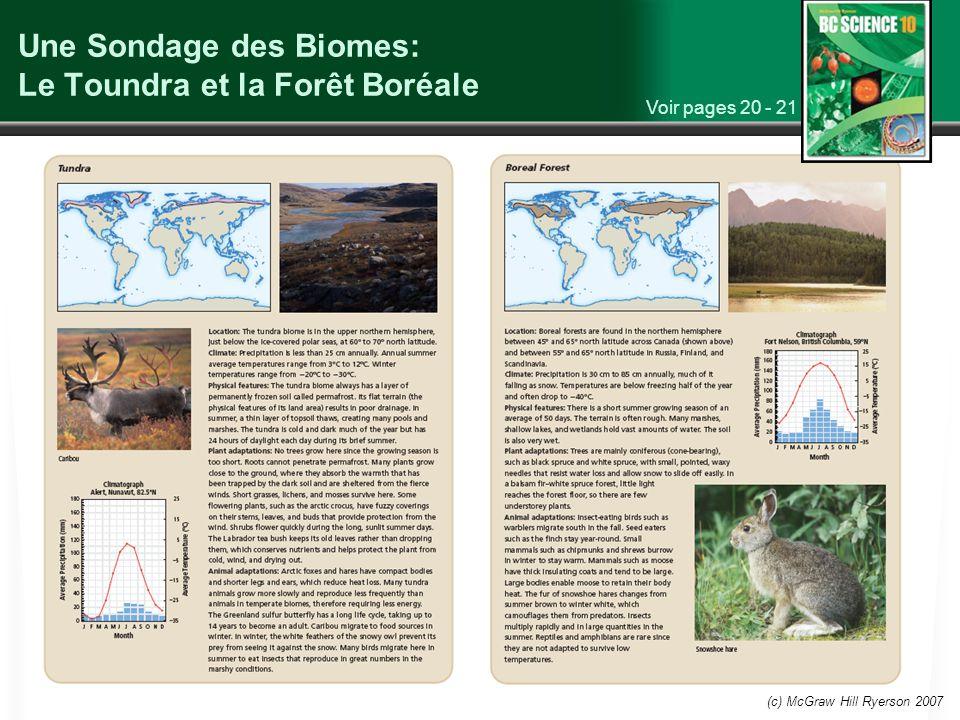 Une Sondage des Biomes: Le Toundra et la Forêt Boréale
