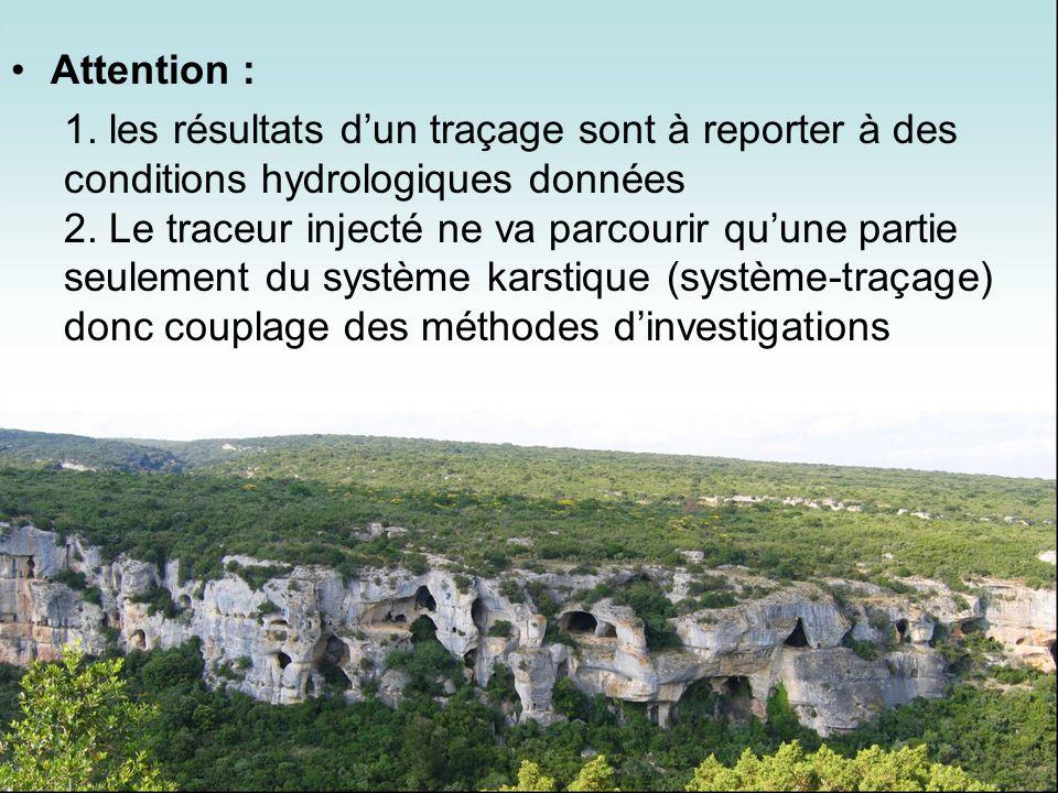 Attention : les résultats d'un traçage sont à reporter à des conditions hydrologiques données.
