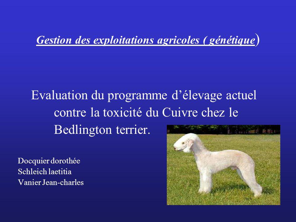 Gestion des exploitations agricoles ( génétique)