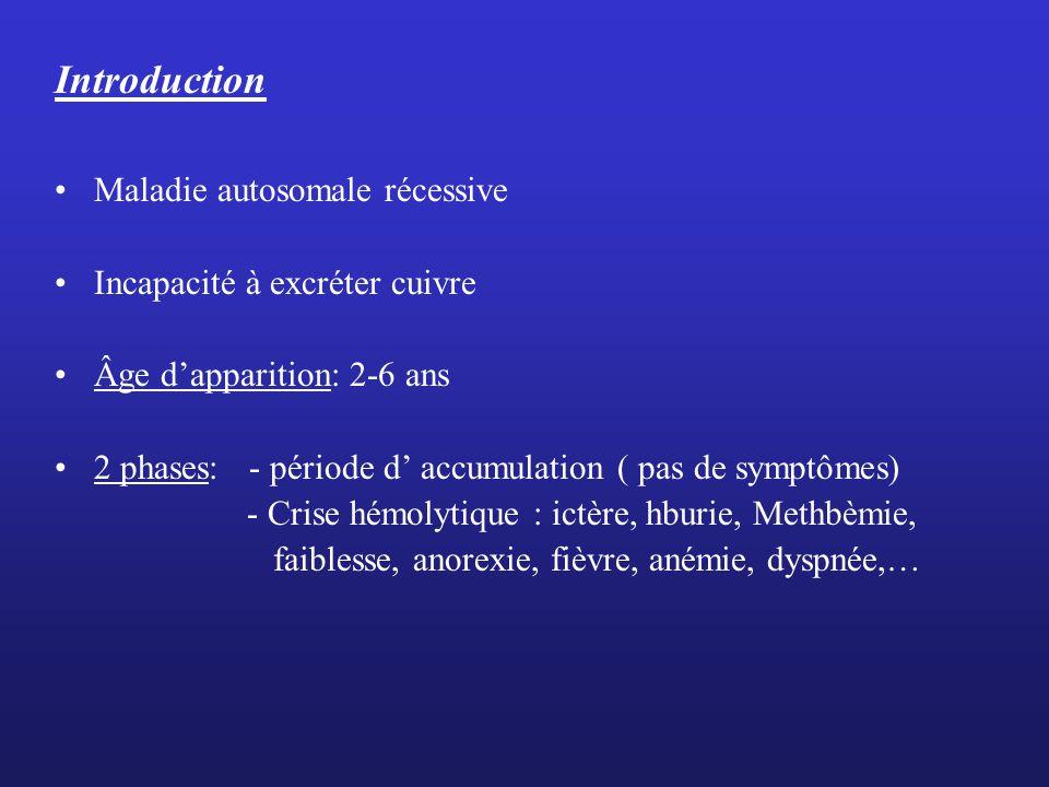 Introduction Maladie autosomale récessive Incapacité à excréter cuivre
