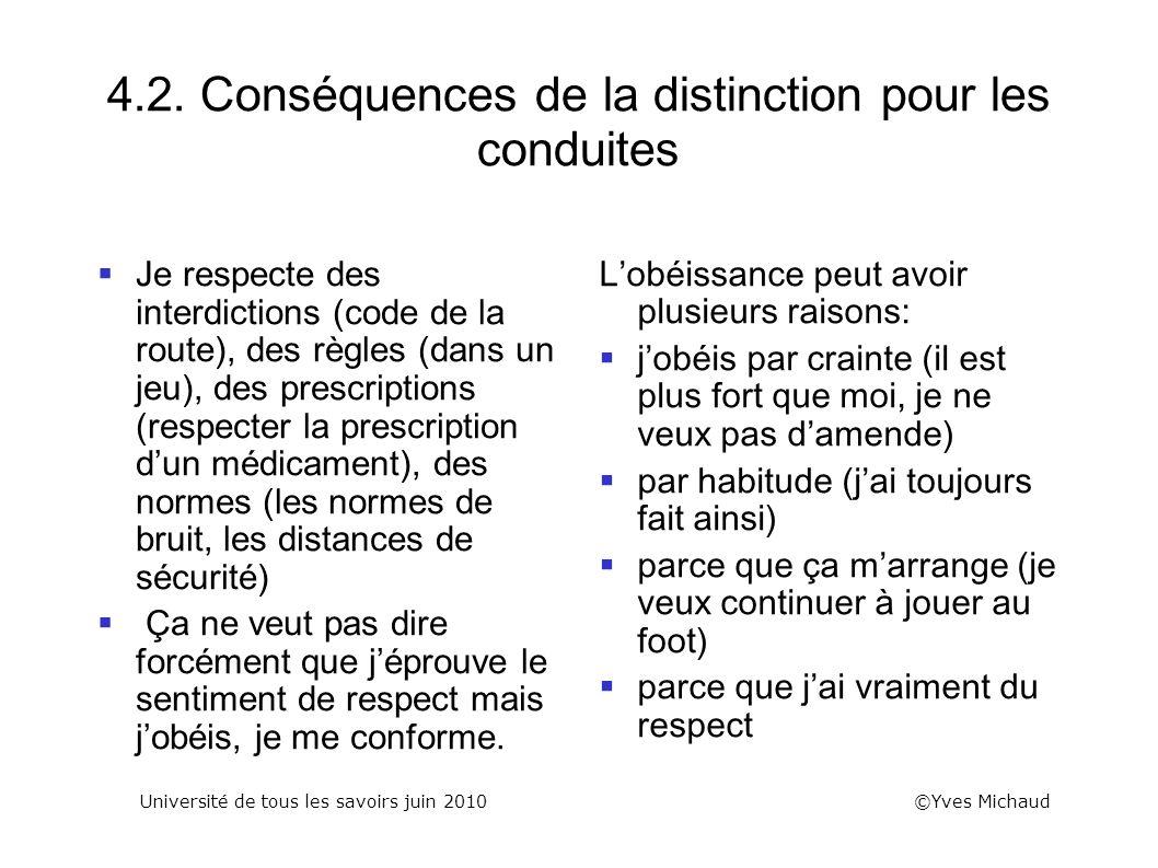 4.2. Conséquences de la distinction pour les conduites