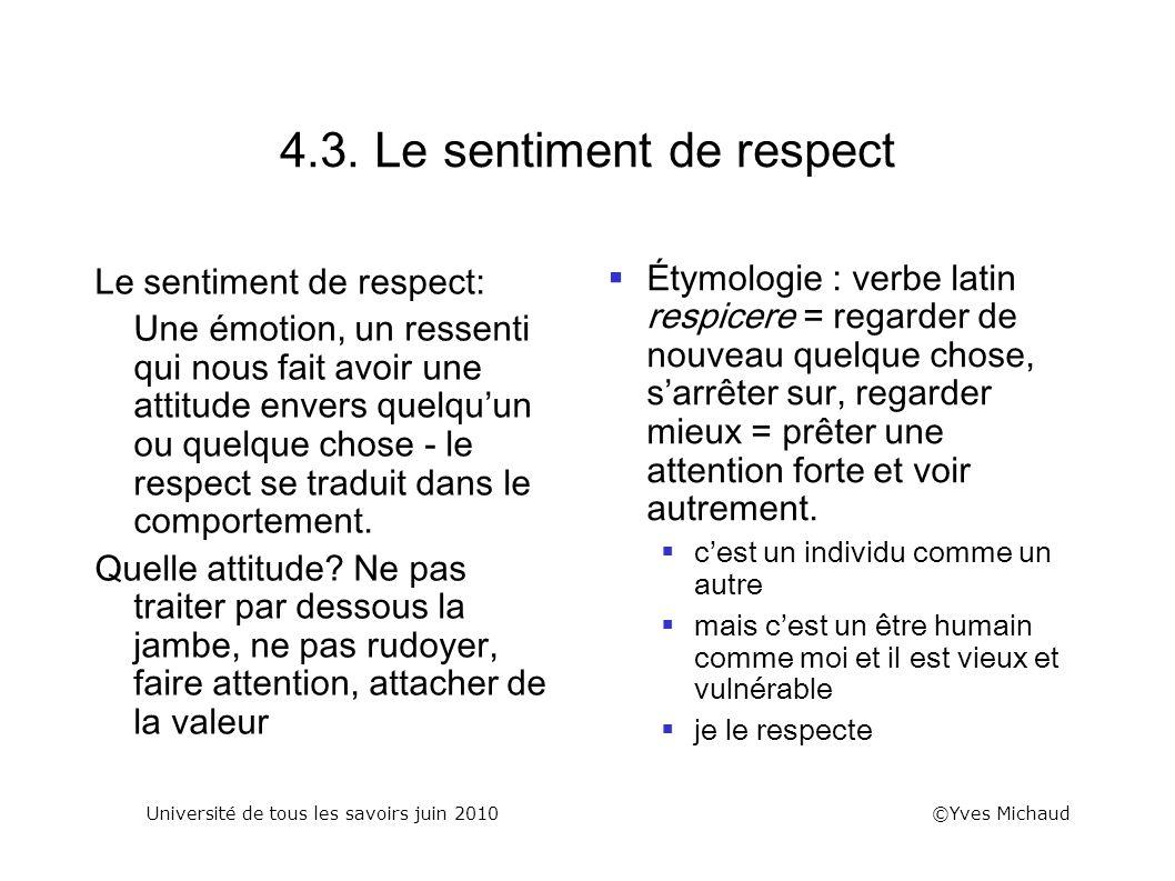 4.3. Le sentiment de respect