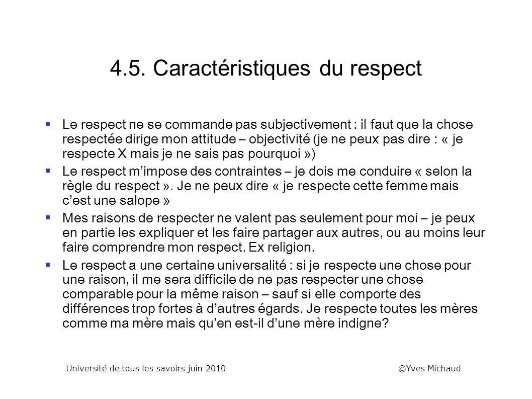 4.5. Caractéristiques du respect