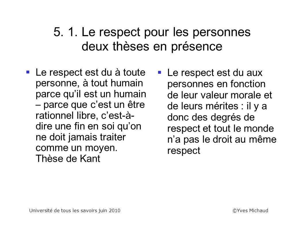5. 1. Le respect pour les personnes deux thèses en présence