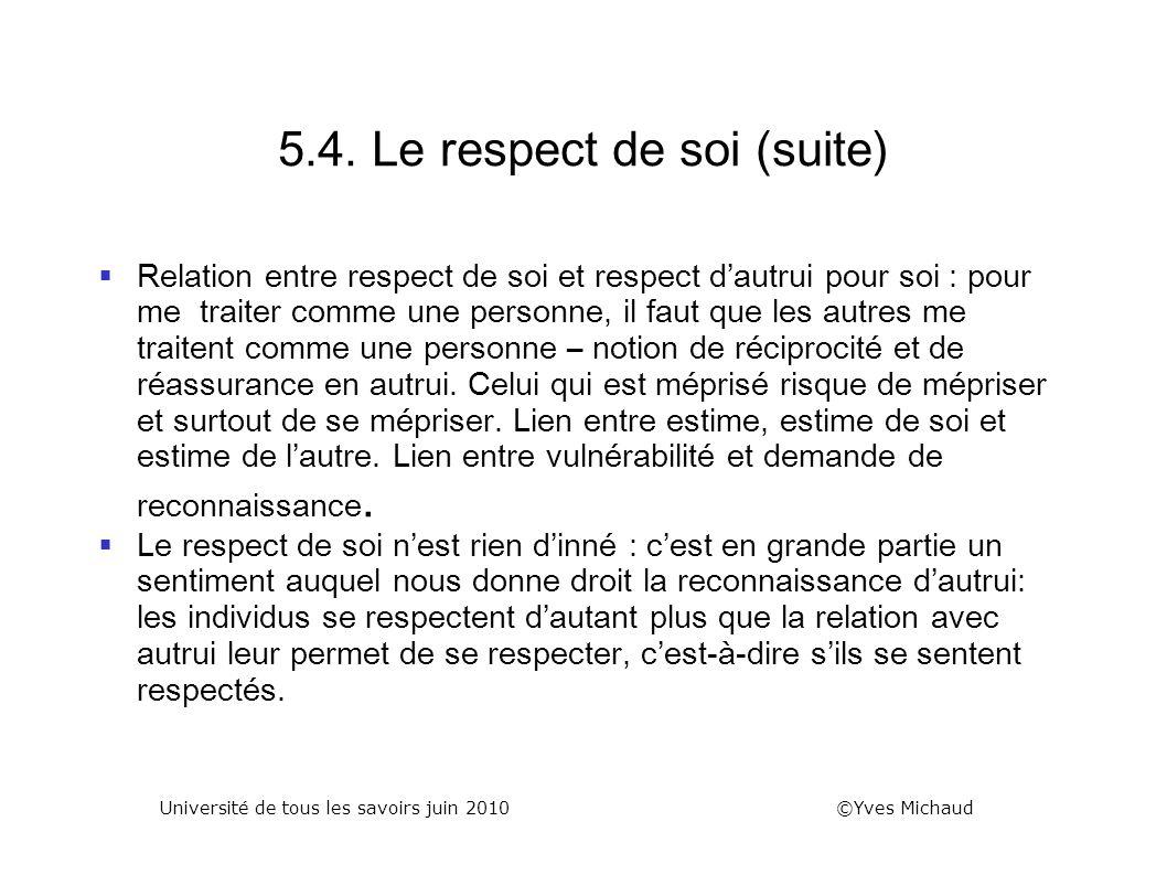 5.4. Le respect de soi (suite)