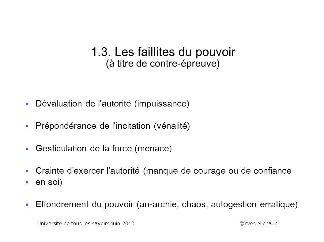 1.3. Les faillites du pouvoir (à titre de contre-épreuve)