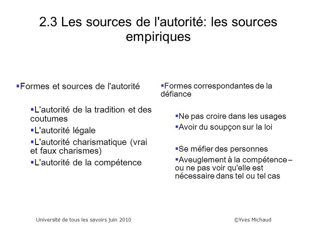 2.3 Les sources de l autorité: les sources empiriques
