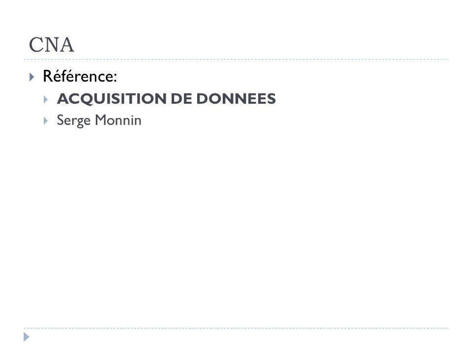 CNA Référence: ACQUISITION DE DONNEES Serge Monnin