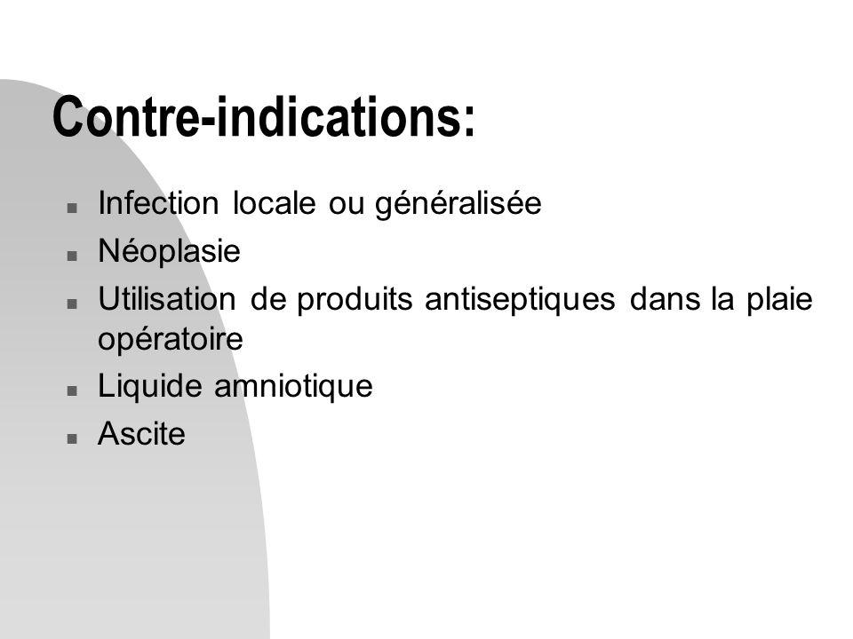 Contre-indications: Infection locale ou généralisée Néoplasie