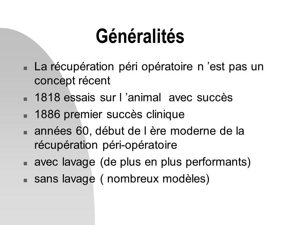 Généralités La récupération péri opératoire n 'est pas un concept récent. 1818 essais sur l 'animal avec succès.