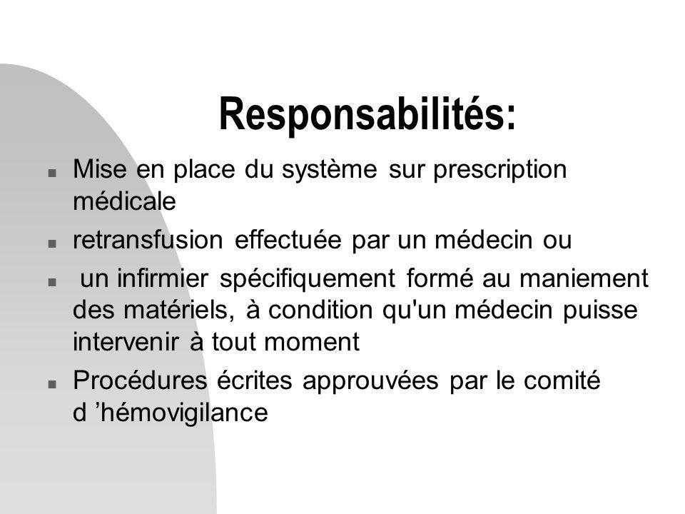 Responsabilités: Mise en place du système sur prescription médicale