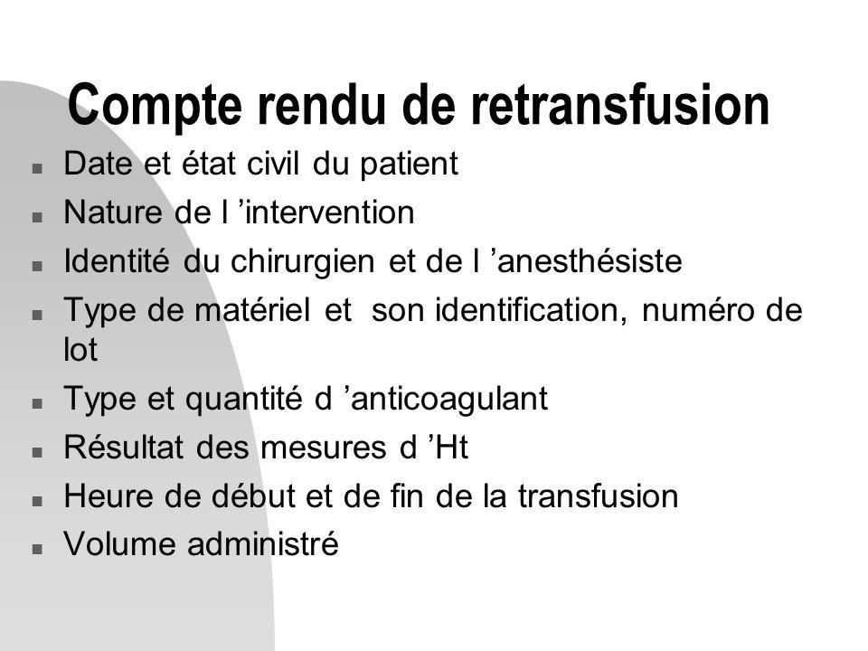 Compte rendu de retransfusion