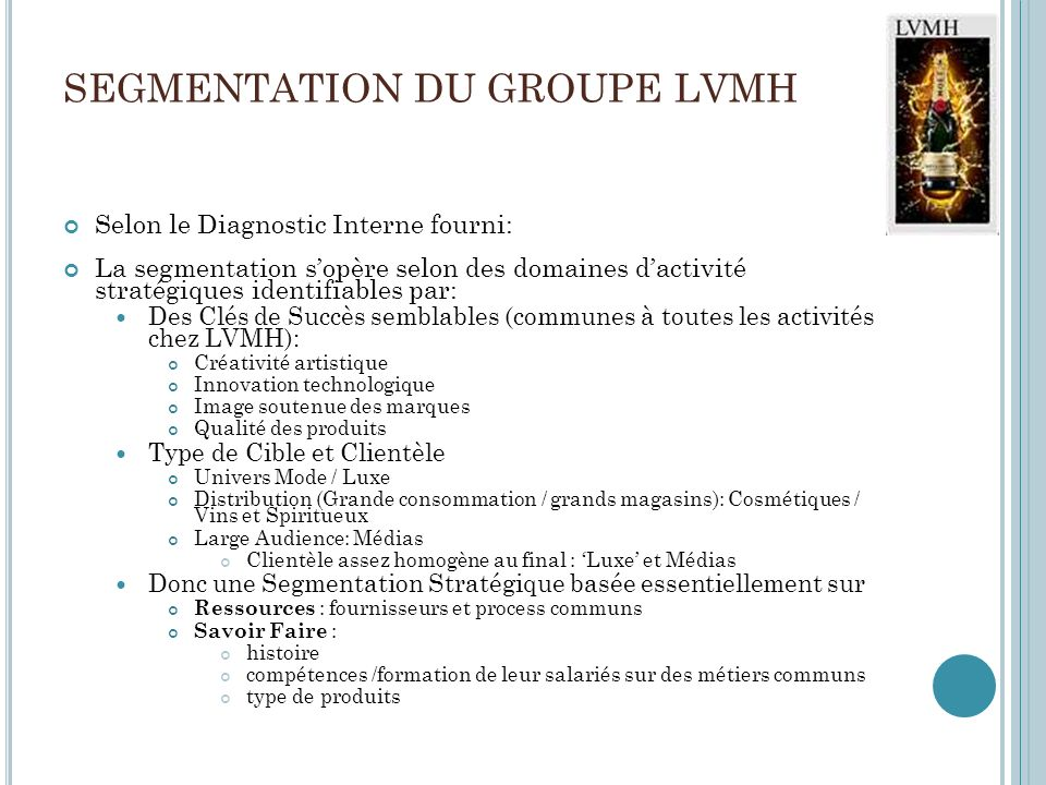 SEGMENTATION DU GROUPE LVMH