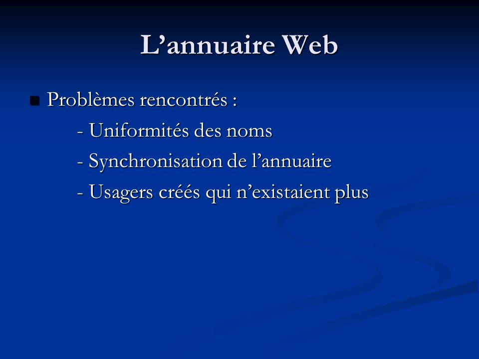 L'annuaire Web Problèmes rencontrés : - Uniformités des noms