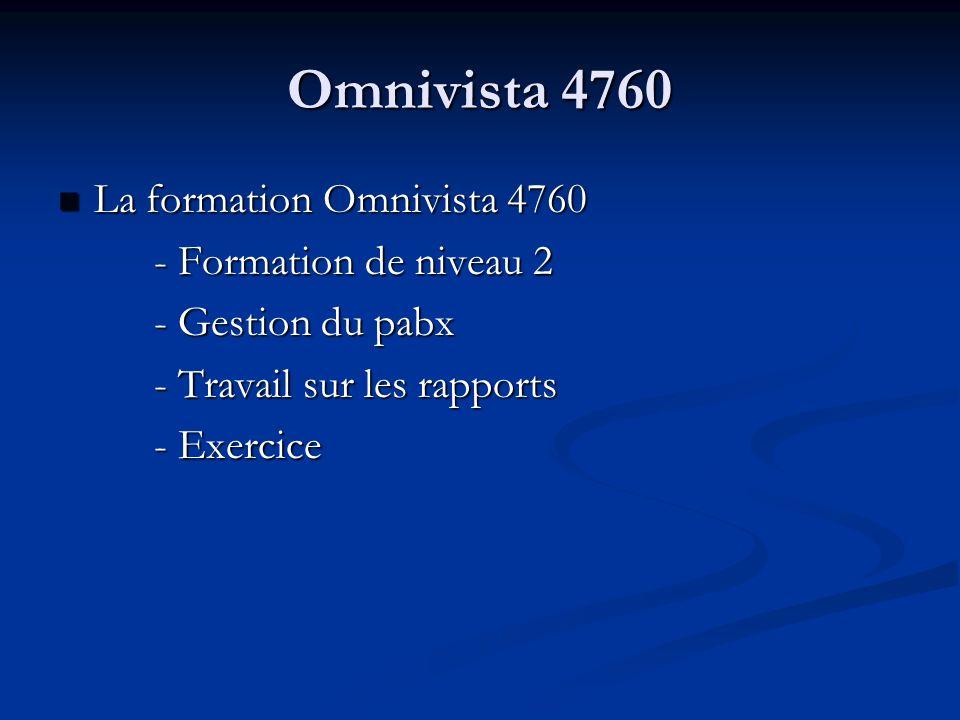 Omnivista 4760 La formation Omnivista 4760 - Formation de niveau 2