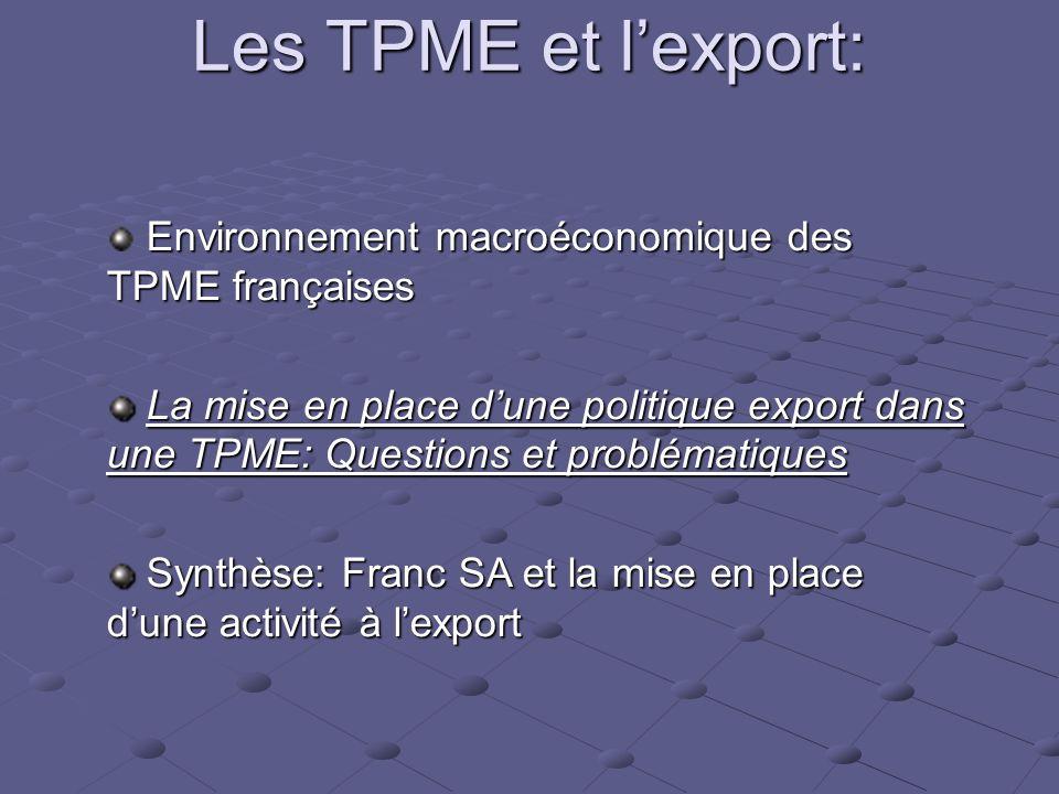 Les TPME et l'export: Environnement macroéconomique des TPME françaises.