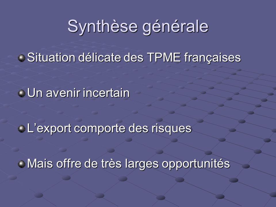 Synthèse générale Situation délicate des TPME françaises