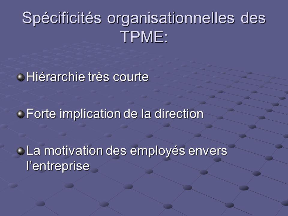 Spécificités organisationnelles des TPME: