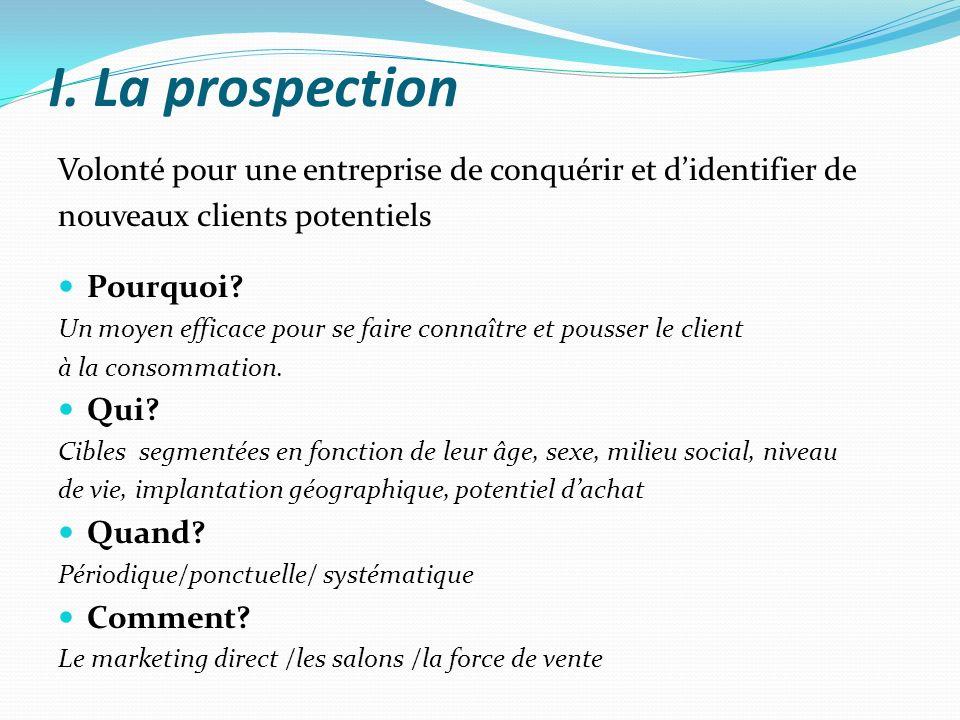 I. La prospection Volonté pour une entreprise de conquérir et d'identifier de. nouveaux clients potentiels.