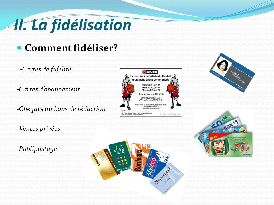 II. La fidélisation Comment fidéliser -Cartes de fidélité