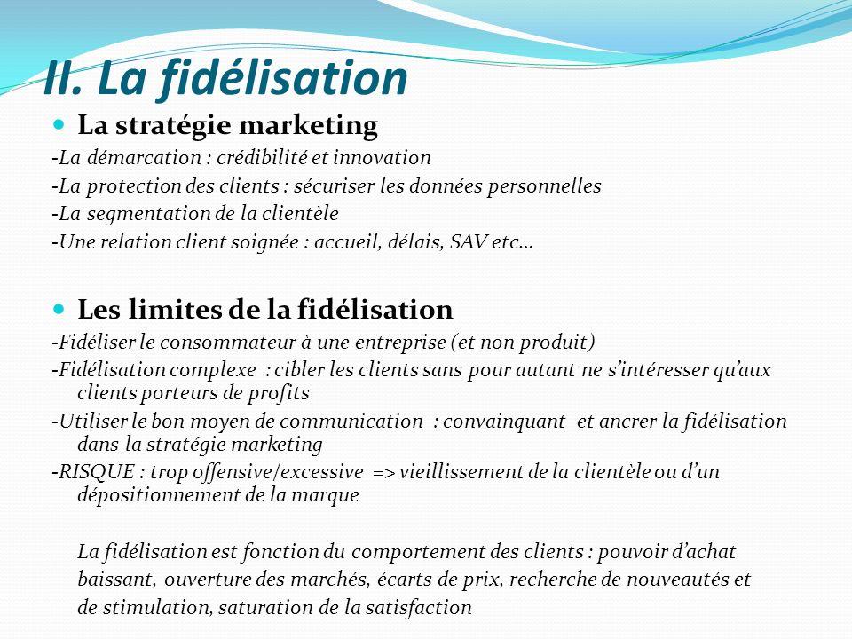 II. La fidélisation La stratégie marketing