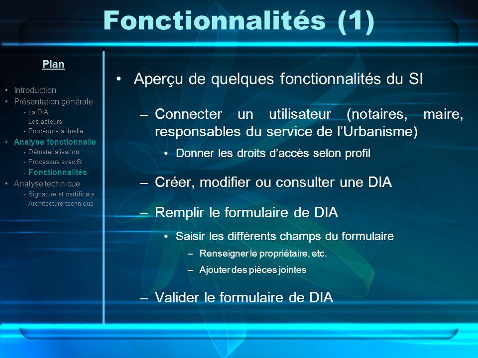 Fonctionnalités (1) Aperçu de quelques fonctionnalités du SI