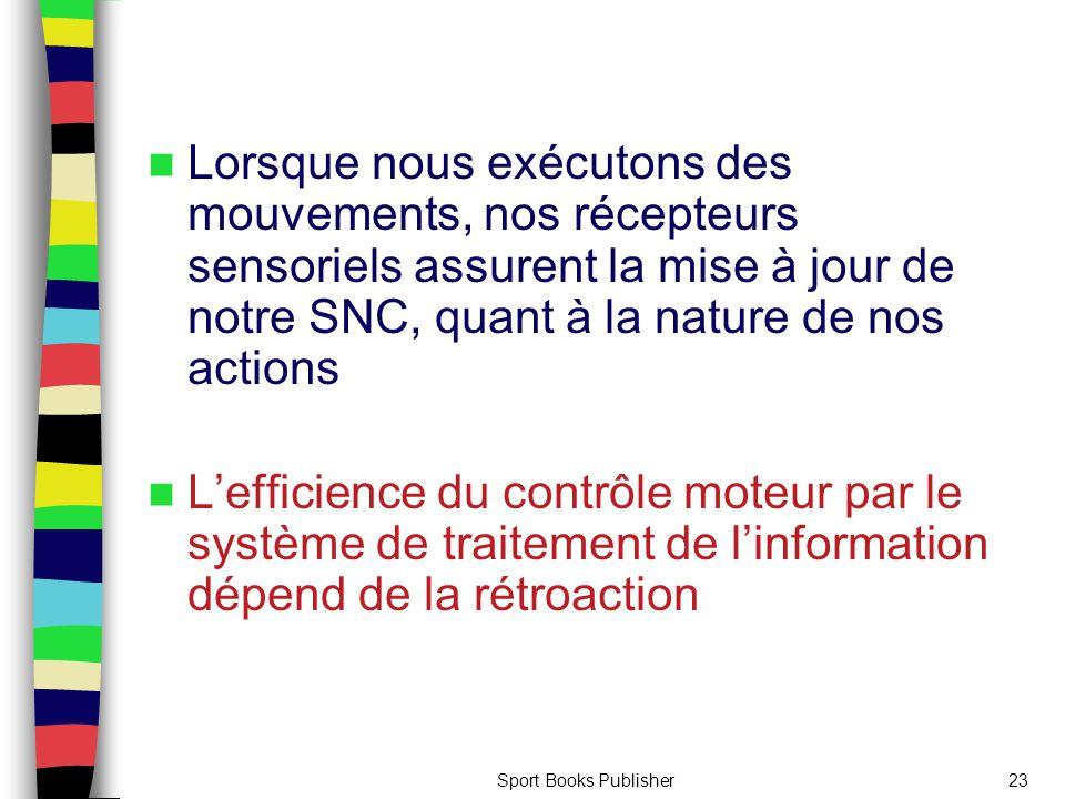 Lorsque nous exécutons des mouvements, nos récepteurs sensoriels assurent la mise à jour de notre SNC, quant à la nature de nos actions