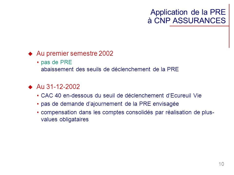 Application de la PRE à CNP ASSURANCES