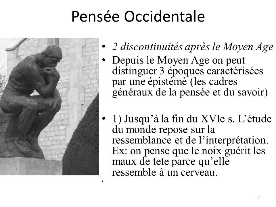 Pensée Occidentale 2 discontinuités après le Moyen Age