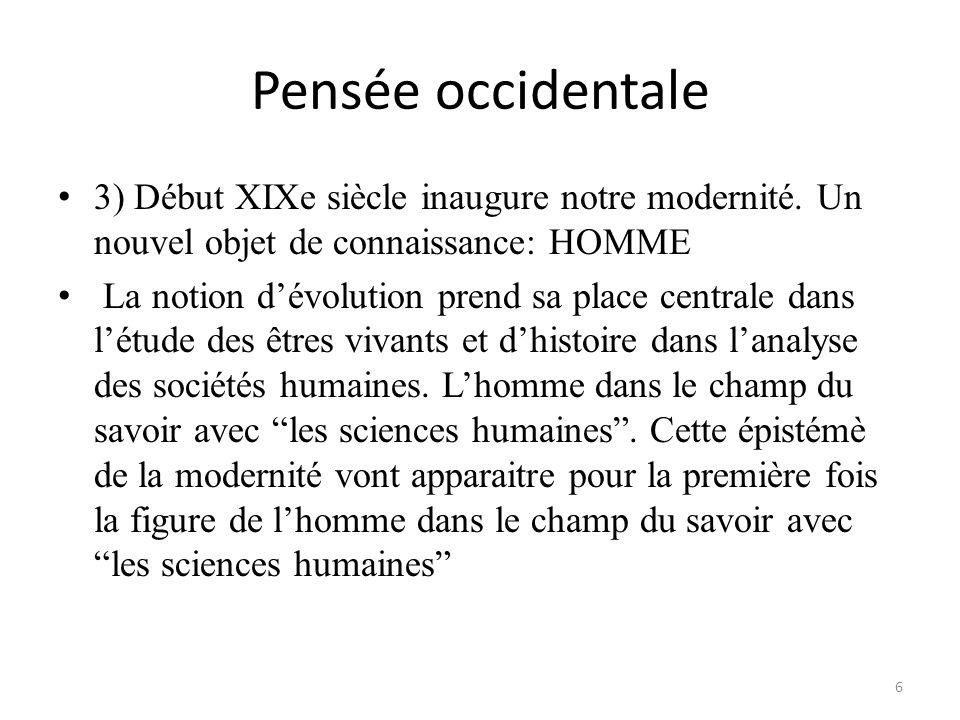 Pensée occidentale 3) Début XIXe siècle inaugure notre modernité. Un nouvel objet de connaissance: HOMME.