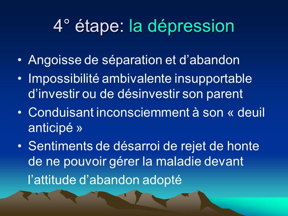 4° étape: la dépression Angoisse de séparation et d'abandon