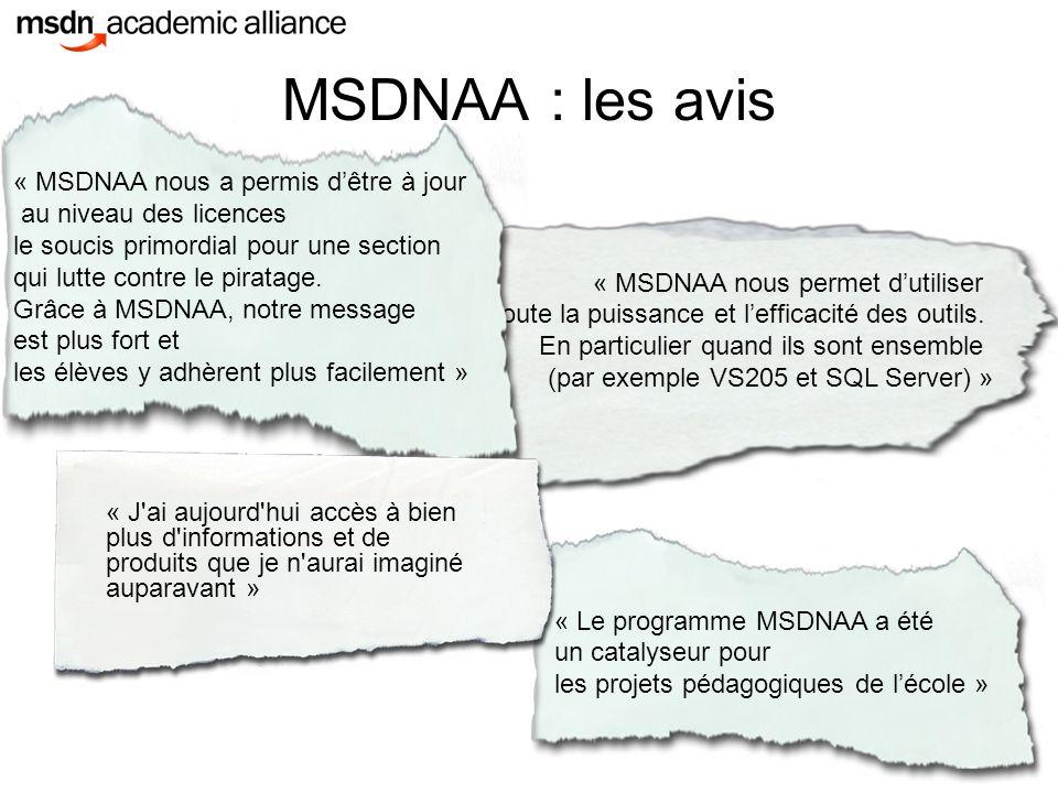 MSDNAA : les avis « MSDNAA nous a permis d'être à jour