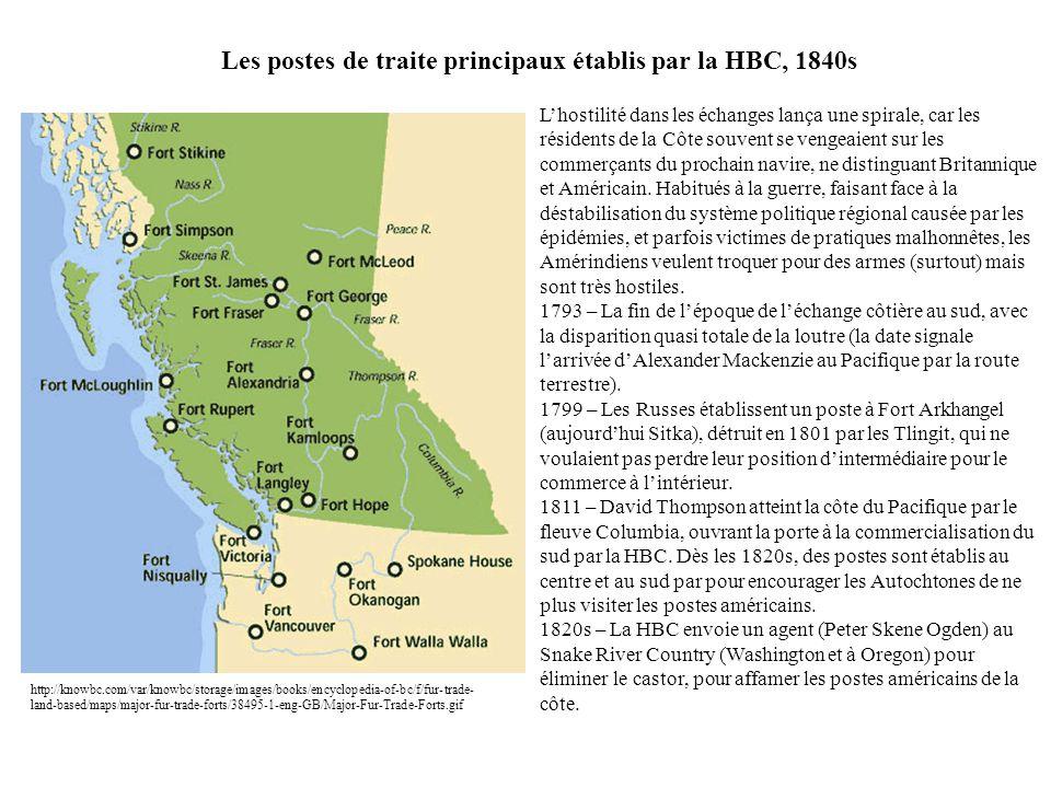 Les postes de traite principaux établis par la HBC, 1840s