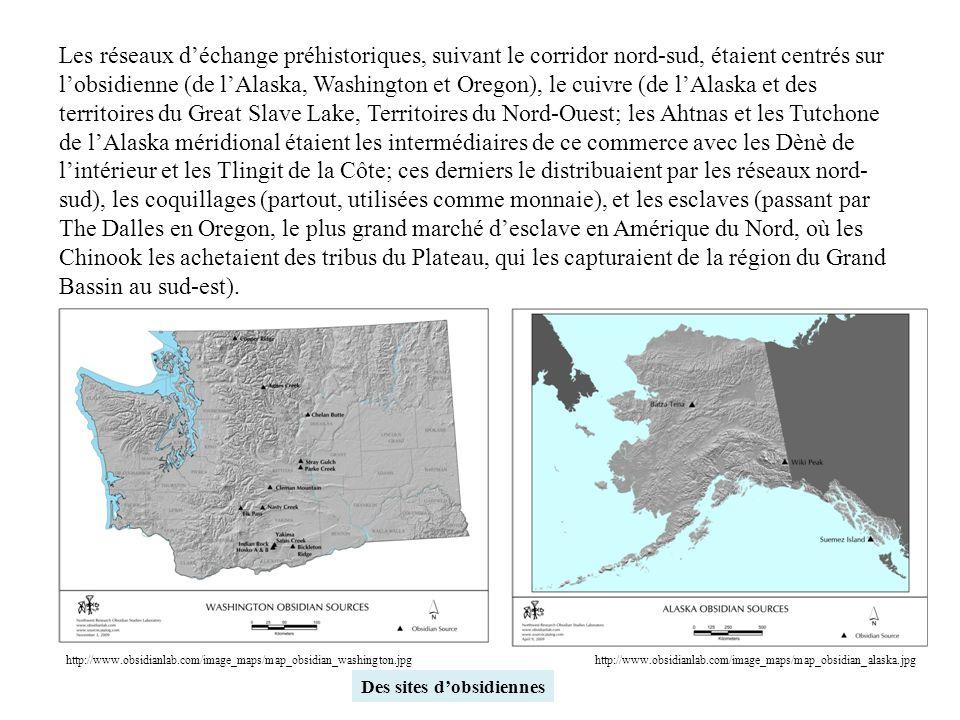 Les réseaux d'échange préhistoriques, suivant le corridor nord-sud, étaient centrés sur l'obsidienne (de l'Alaska, Washington et Oregon), le cuivre (de l'Alaska et des territoires du Great Slave Lake, Territoires du Nord-Ouest; les Ahtnas et les Tutchone de l'Alaska méridional étaient les intermédiaires de ce commerce avec les Dènè de l'intérieur et les Tlingit de la Côte; ces derniers le distribuaient par les réseaux nord-sud), les coquillages (partout, utilisées comme monnaie), et les esclaves (passant par The Dalles en Oregon, le plus grand marché d'esclave en Amérique du Nord, où les Chinook les achetaient des tribus du Plateau, qui les capturaient de la région du Grand Bassin au sud-est).