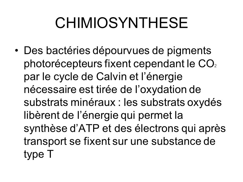 CHIMIOSYNTHESE