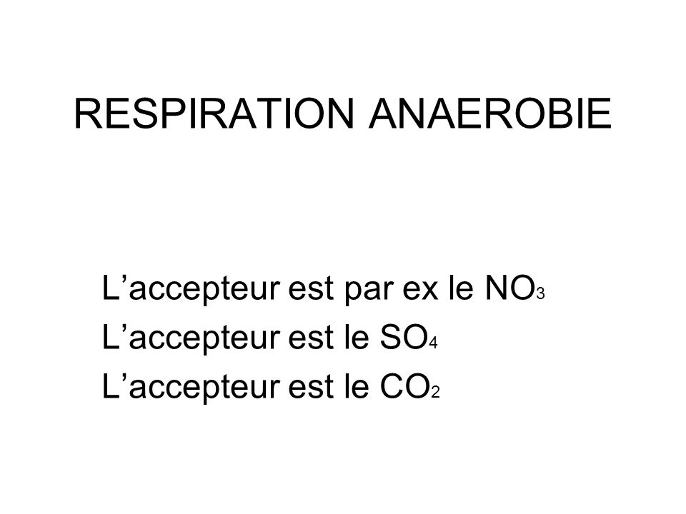RESPIRATION ANAEROBIE