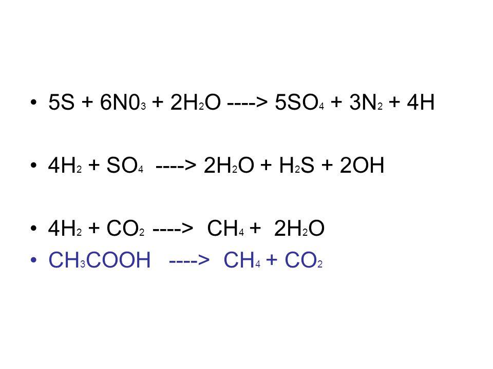 5S + 6N03 + 2H2O ----> 5SO4 + 3N2 + 4H