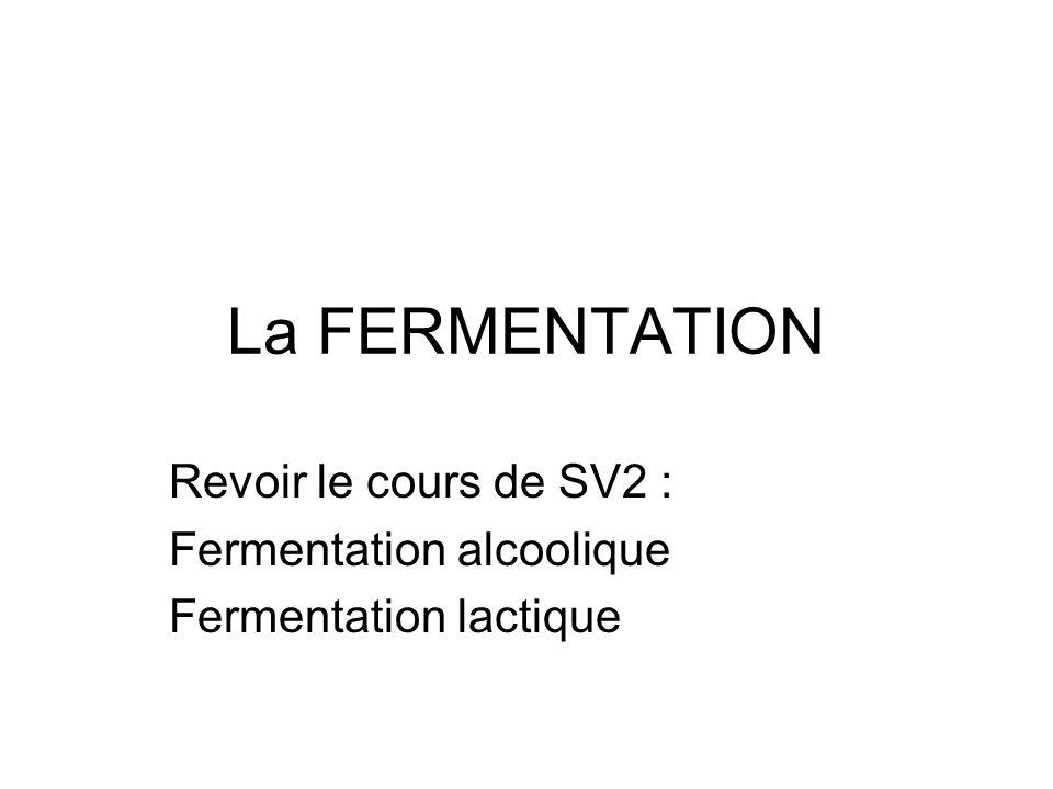 Revoir le cours de SV2 : Fermentation alcoolique Fermentation lactique