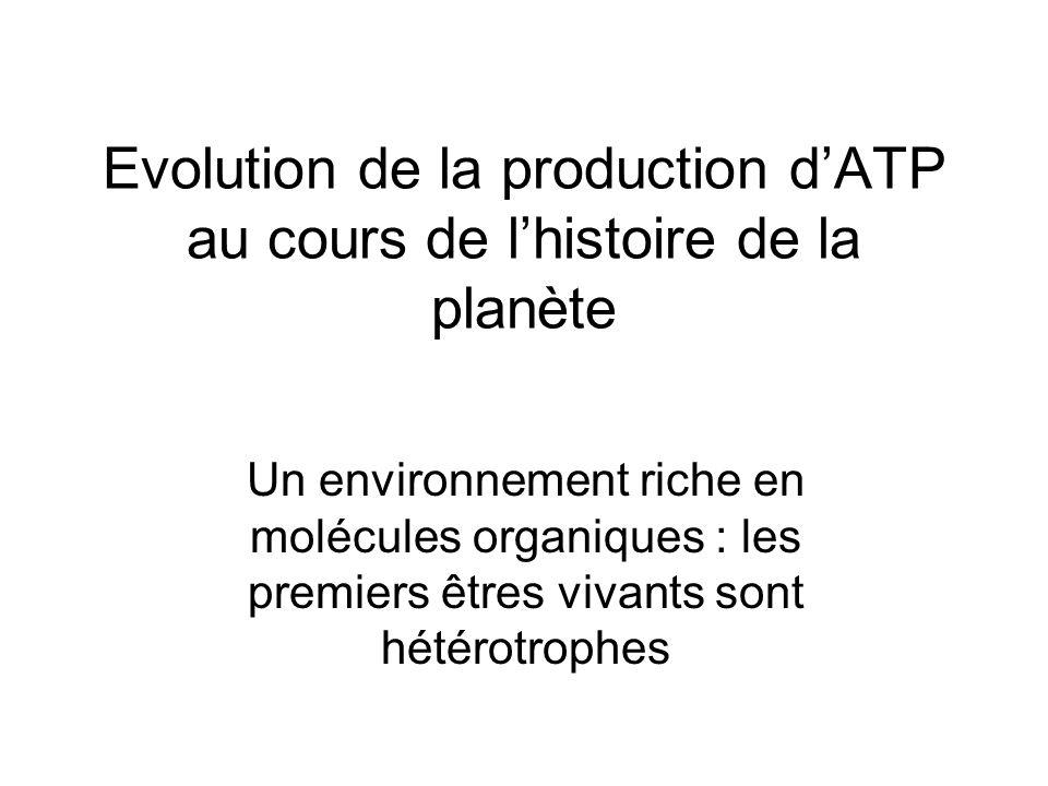Evolution de la production d'ATP au cours de l'histoire de la planète