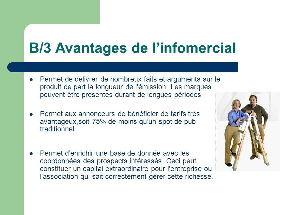 B/3 Avantages de l'infomercial