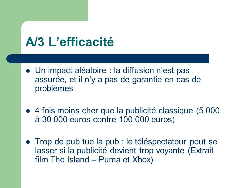 A/3 L'efficacitéUn impact aléatoire : la diffusion n'est pas assurée, et il n'y a pas de garantie en cas de problèmes.