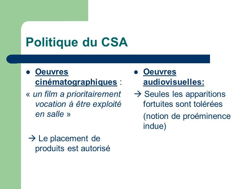 Politique du CSA Oeuvres cinématographiques :
